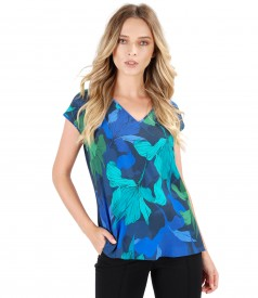 Casual blouse with viscose front and floral print