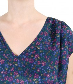 Casual blouse with silk front and floral print