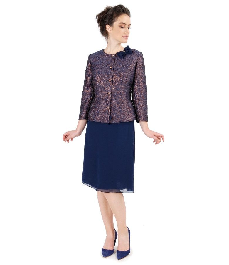 Elegant outfit with veil skirt and brocade jacket with copper thread