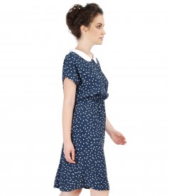 Viscose dress printed with lace corner