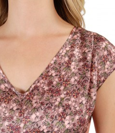 Silk casual blouse with floral print