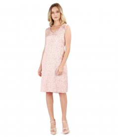 Flared viscose dress printed with lace corner