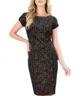 Evening dress made of elastic printed velvet