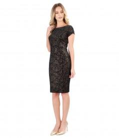 Evening dress made of elastic printed velvet