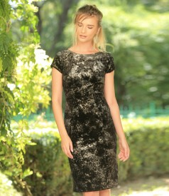 Evening dress made of elastic brocade velvet