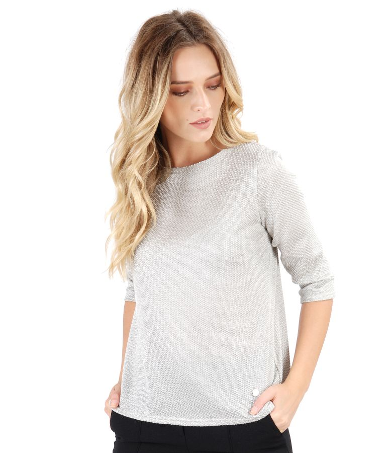 Grey blouse made of knitwear with silver thread