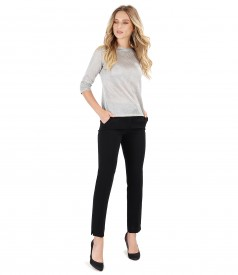 Knitwear blouse with silver wire and ankle pants