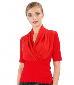 Elastic jersey blouse with overlay veil collar