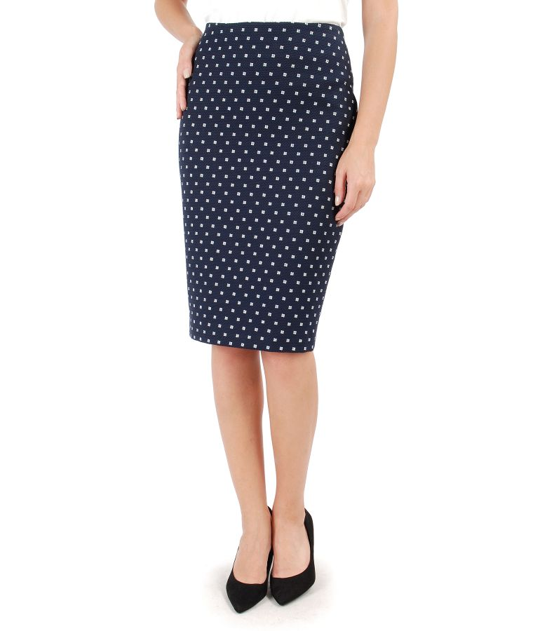 Office skirt made of printed cotton