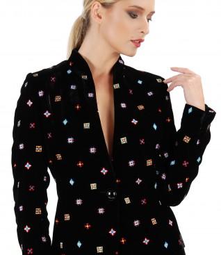 Embroidery velvet jacket