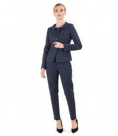 Office woman suit with jacket and printed cotton skirt