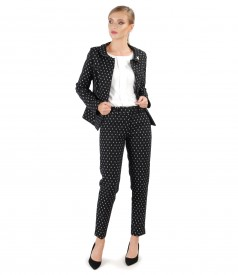 Office woman suit with jacket and printed cotton pants