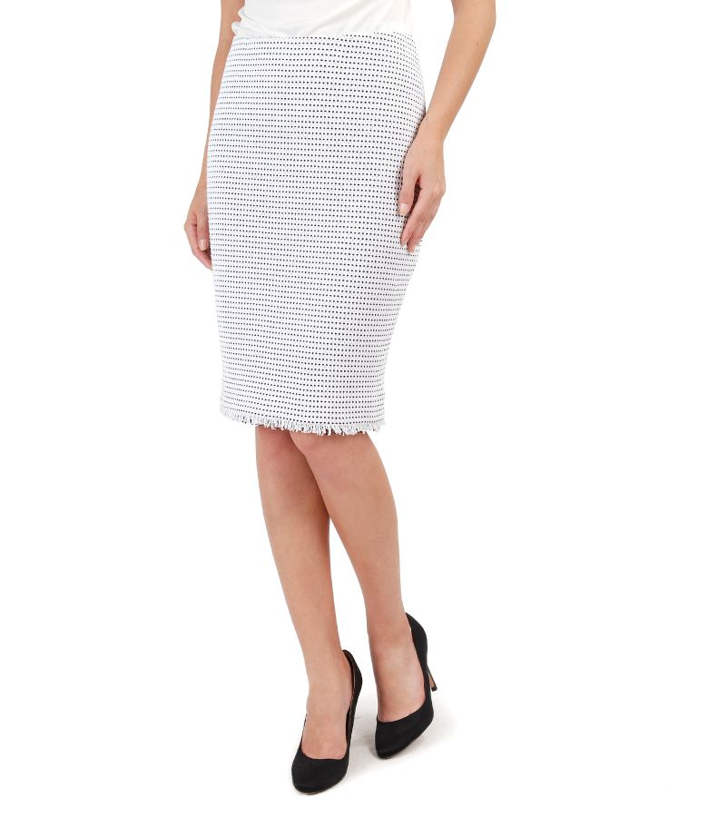 Skirt with loops and fringes