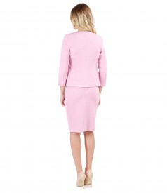 Office woman outfit with jacket and textured fabric cotton skirt