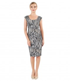 Cotton brocade dress with golden wire