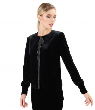 Black elastic velvet jacket