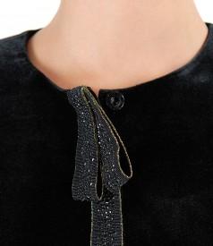 Black elastic velvet jacket
