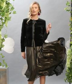 Elegant outfit with elastic velvet jacket and veil dress