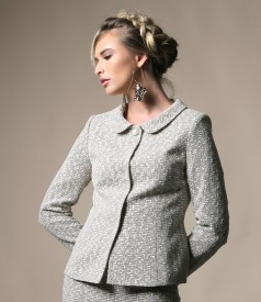 Loop jacket with cotton and detachable brooch