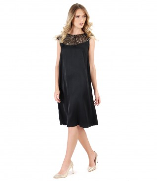 Flaring dress with trim