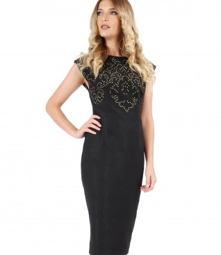 Brocade elastic jersey dress