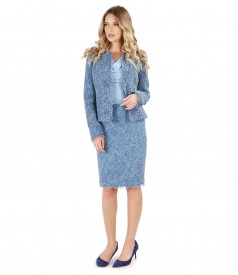 Office woman suit with jacket and multicolor loops skirt