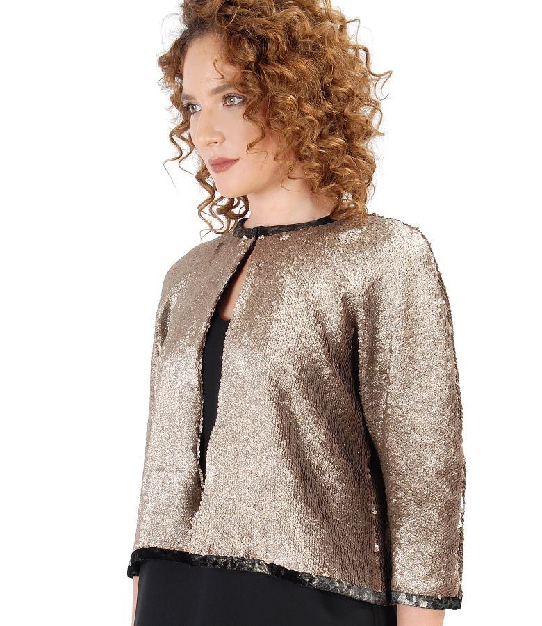 Bolero made of golden sequins with pearlescent look
