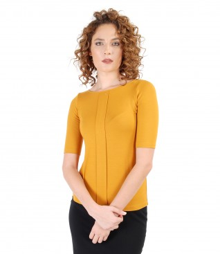 Elastic jersey blouse with fold and Swarovski crystals trim