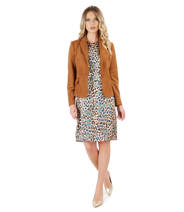 Fabric jacket with velvet look and printed silk dress