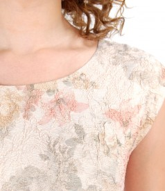 Elastic brocade dress with gold metallic thread