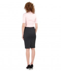 Printed cotton skirt and blouse with veil bust