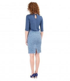 Elegant outfit with loop skirt and printed elastic jersey blouse