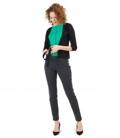 Elegant outfit with fabric pants brocaded with lace corner and uni elastic jersey blouse