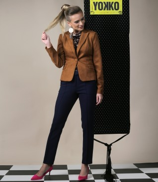 Fabric jacket with velvet look and ankle pants