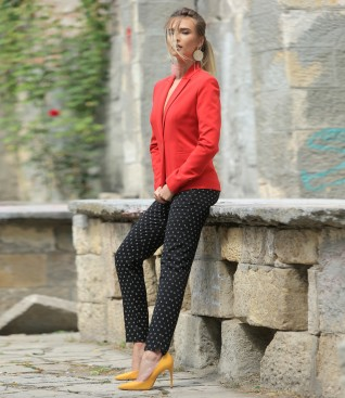 Office outfit with printed cotton pants and elastic fabric jacket