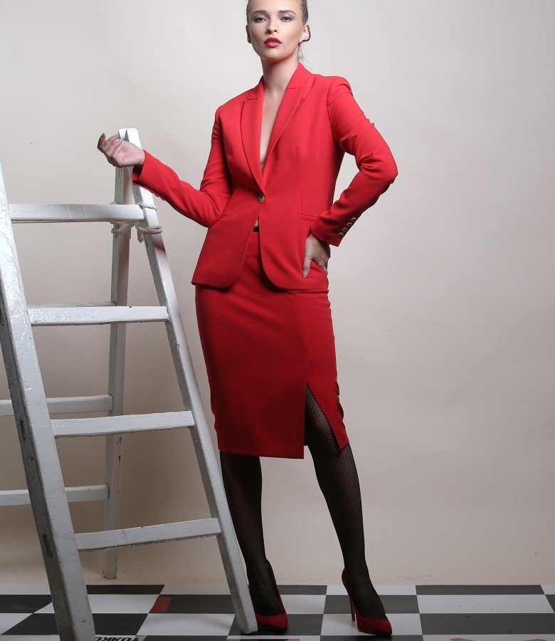 Office woman suit with jacket and elastic fabric skirt