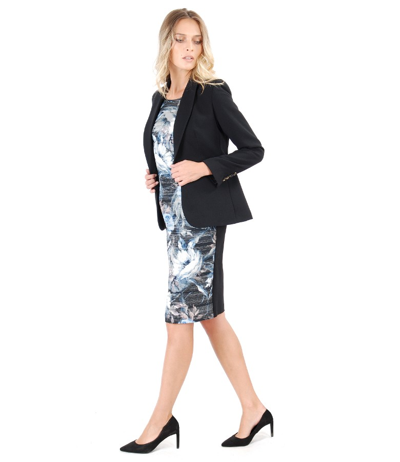 Elegant outfit with elastic fabric jacket and dress with printed front