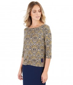 Jersey blouse with floral print