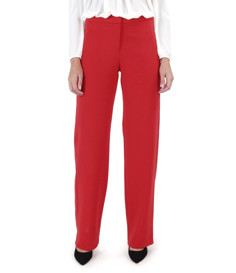 Elastic fabric straight pants