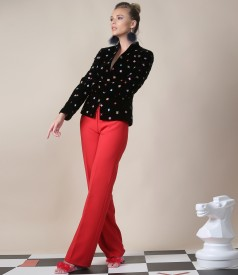 Embroidered velvet jacket with straight pants