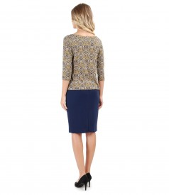 Elegant outfit with midi skirt and printed elastic jersey blouse