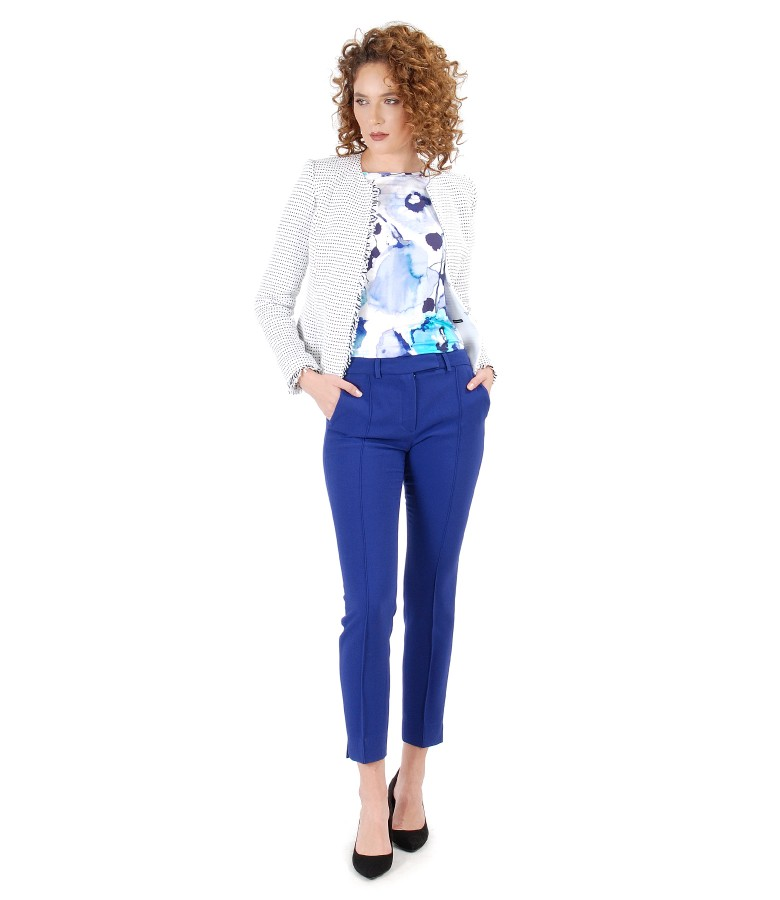 Office outfit with loop jacket and ankle pants