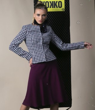 Multicolor loop jacket with semiclos skirt