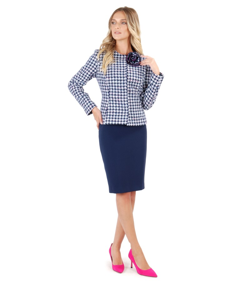 Office outfit with tapered skirt and multicolor loop jacket
