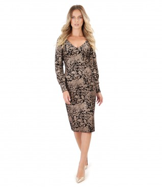 Elastic velvet dress with golden print