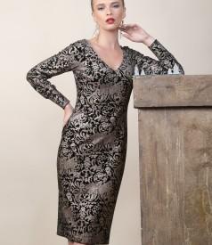Elastic velvet dress with golden print