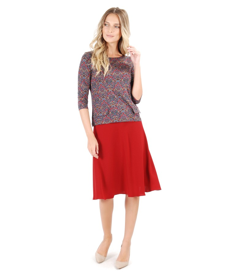Semiclos skirt with printed elastic jersey blouse