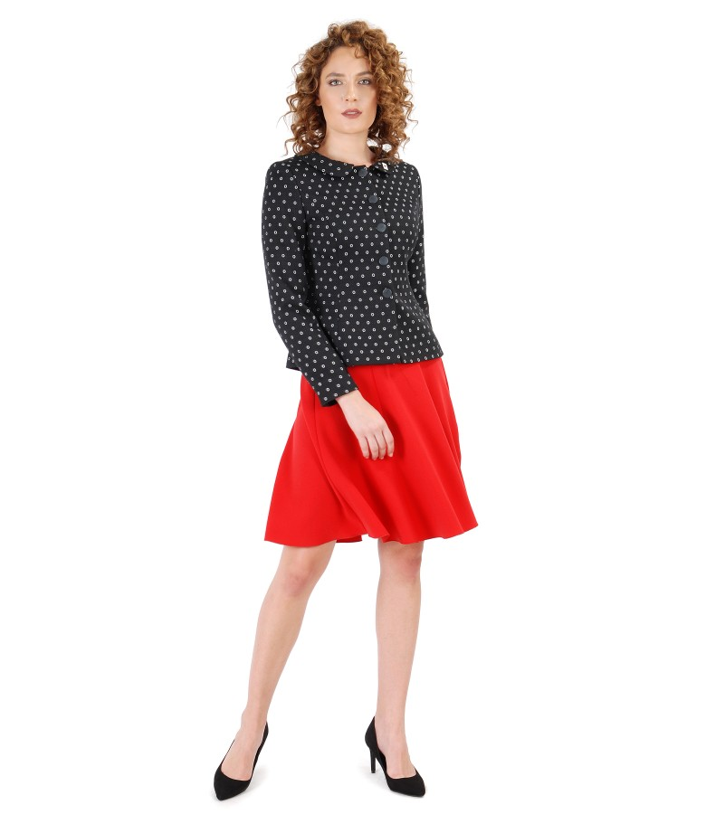 Office outfit with printed cotton jacket and flaring skirt