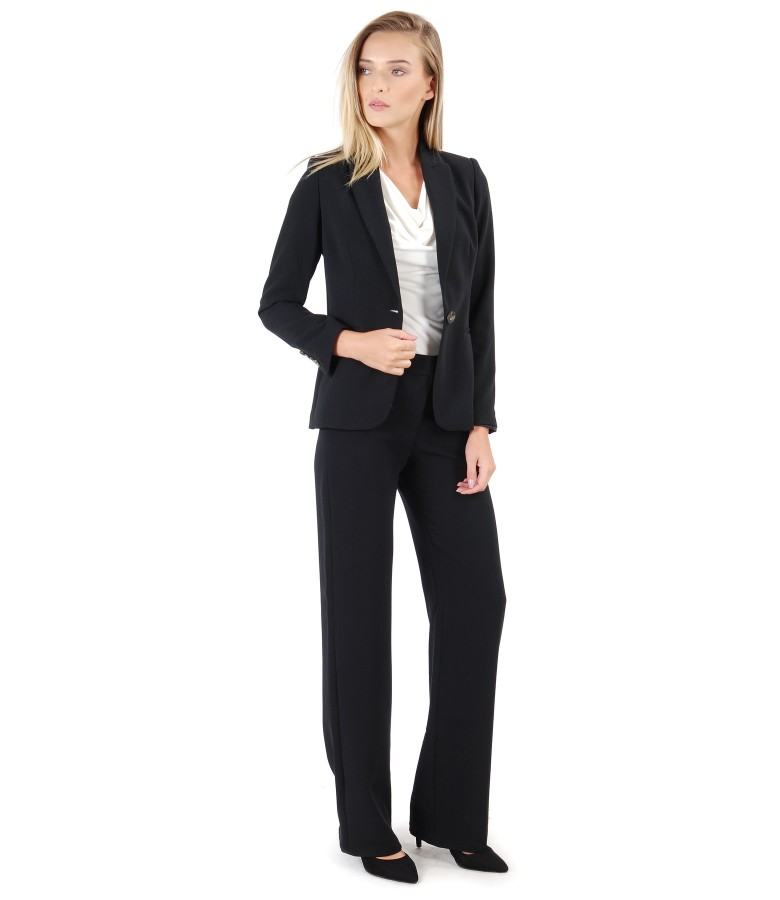 Office woman suit with jacket and elastic fabric pants