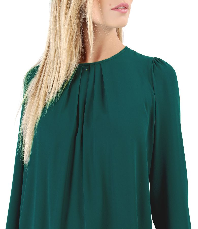 Blouse with folds on decolletage embellished with crystals from Swarovski<sup style=font-size:0.5em>&reg;</sup>